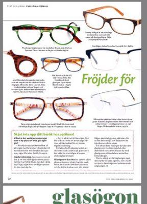 mirrokel med i propensionerer tidning med rekommendation för glasögon